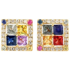 Multi Stone Sapphire 18 Karat Gold Square Stud Earrings