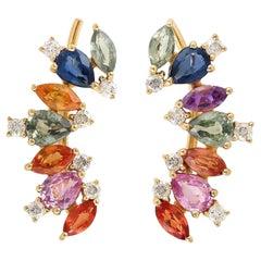Multi-Stone Sapphire Diamond 18 Karat Ear Cuff