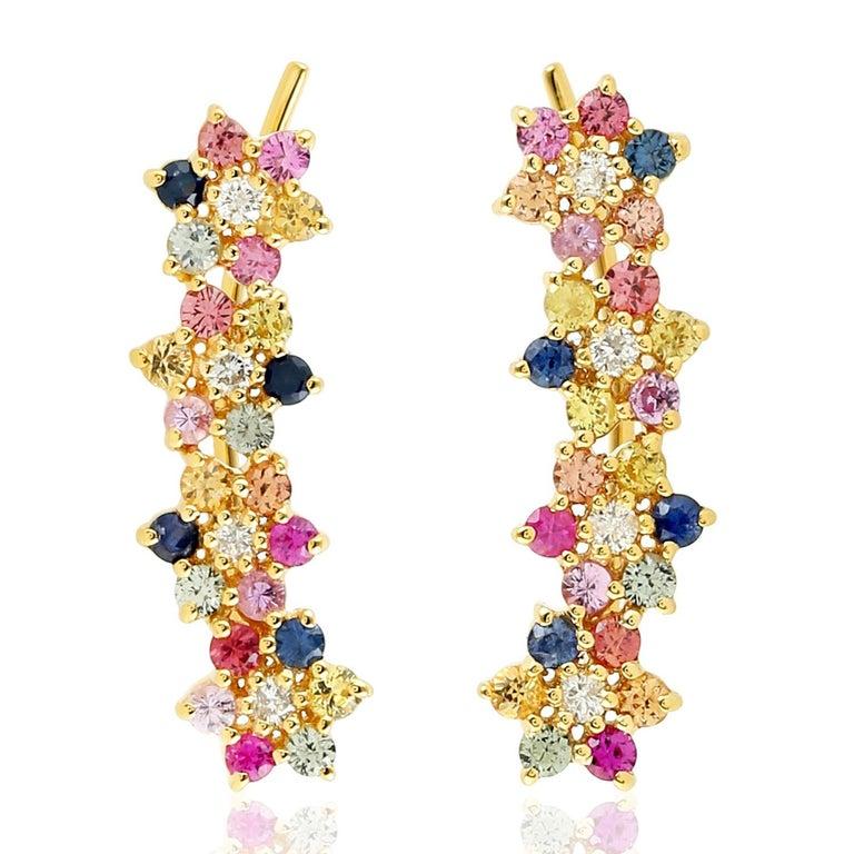 Multi Stone Sapphire Diamond 18 Karat Flower Ear Climbers In New Condition For Sale In Hoffman Estate, IL