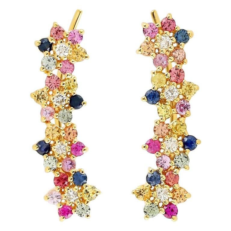 Multi Stone Sapphire Diamond 18 Karat Flower Ear Climbers For Sale