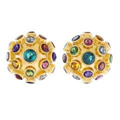 """Multi Stone """"Sputnik"""" Gold Earrings"""