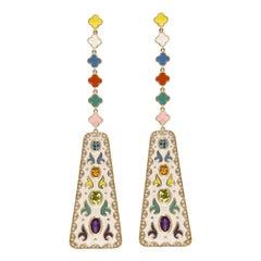 Multi Stone Studded Multi Color Enamel Earrings in 14 Karat Gold