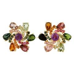 Multi Stone Tourmaline 18 Karat Gold Swirl Stud Earrings