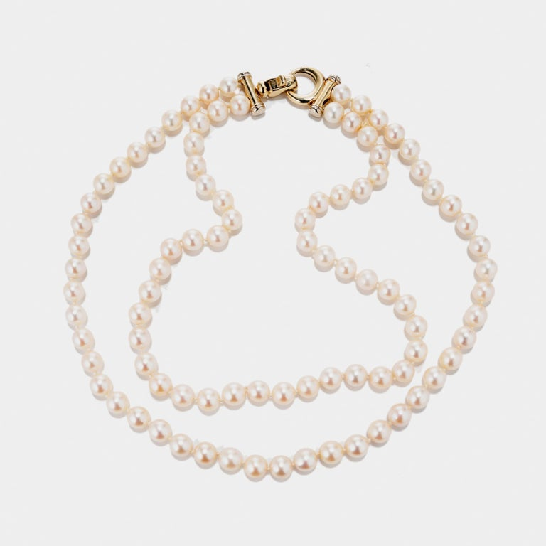 Multi-Strand Japanese Akoya Cultured Pearl 14 Karat Yellow Gold Necklace In Excellent Condition In Stamford, CT