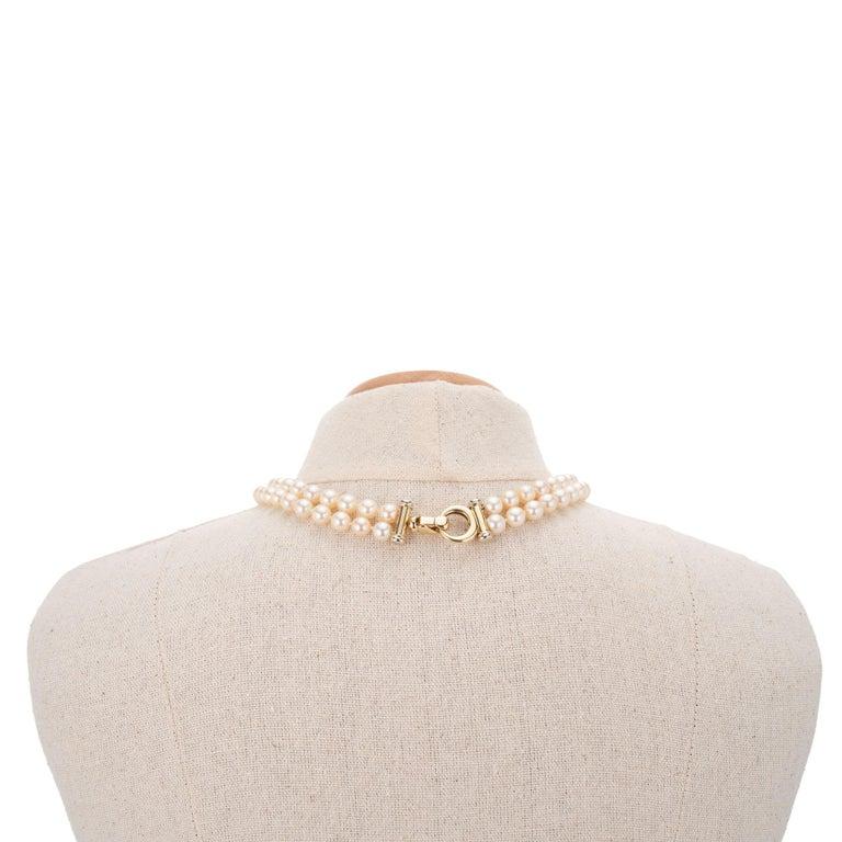 Women's Multi-Strand Japanese Akoya Cultured Pearl 14 Karat Yellow Gold Necklace