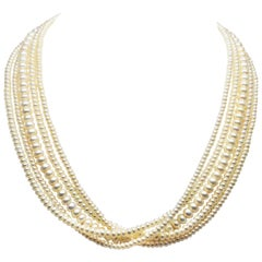 Multi Strand Akoya Button Pearl Necklace