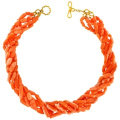 Multi-Strand Angel Skin Elongated Coral Nuggets Necklace