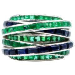 Multi Strand Baguette Emerald Sapphire White Gold Ring