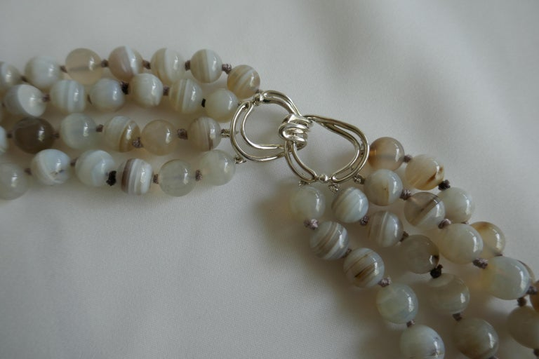 Contemporary Multi Strand Banded Agate 925 Sterling Silver Necklace For Sale