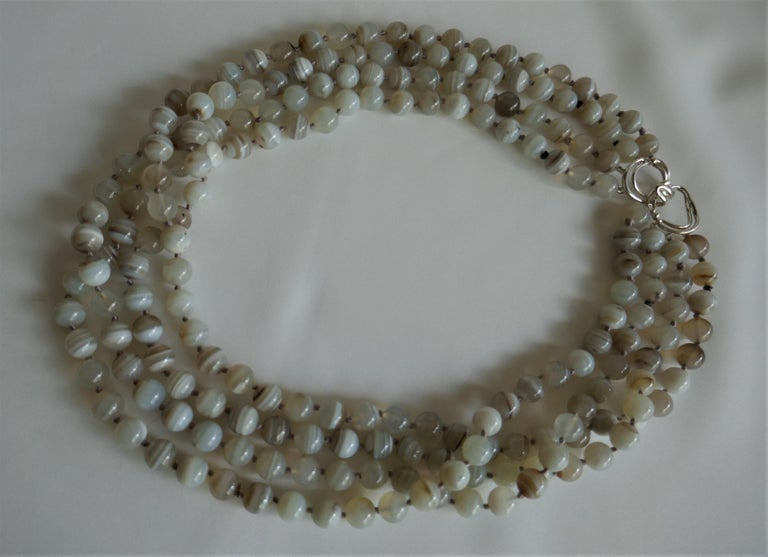 Multi Strand Banded Agate 925 Sterling Silver Necklace In New Condition For Sale In Coral Gables, FL