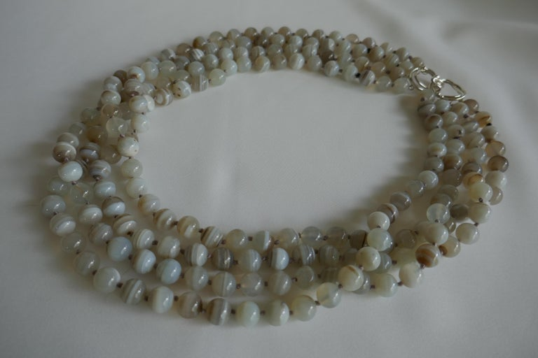 Women's Multi Strand Banded Agate 925 Sterling Silver Necklace For Sale