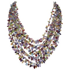 Multi-Strand Beaded Necklace of Semi-Precious Stones
