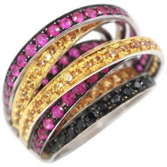 Multi Strand Black Diamond Yellow Sapphire Ruby Gold Ring