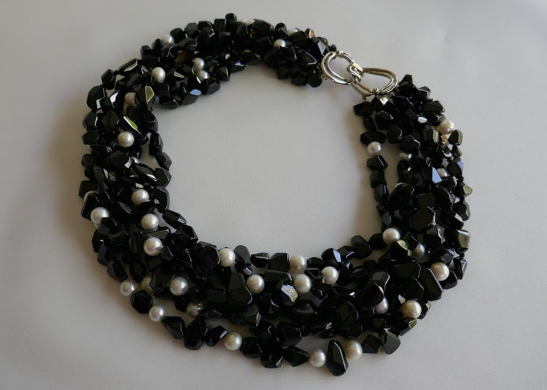 Multi Strand Black Spinel  White Cultured Pearls 925 Sterling Gemstone Necklace In New Condition For Sale In Coral Gables, FL