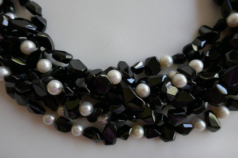 Women's Multi Strand Black Spinel  White Cultured Pearls 925 Sterling Gemstone Necklace For Sale