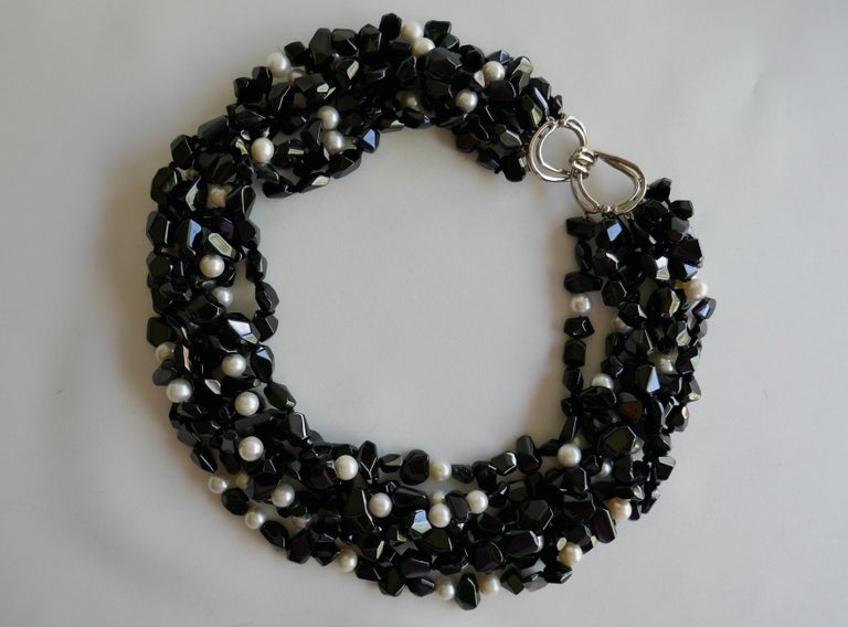 Multi Strand Black Spinel  White Cultured Pearls 925 Sterling Gemstone Necklace For Sale 1