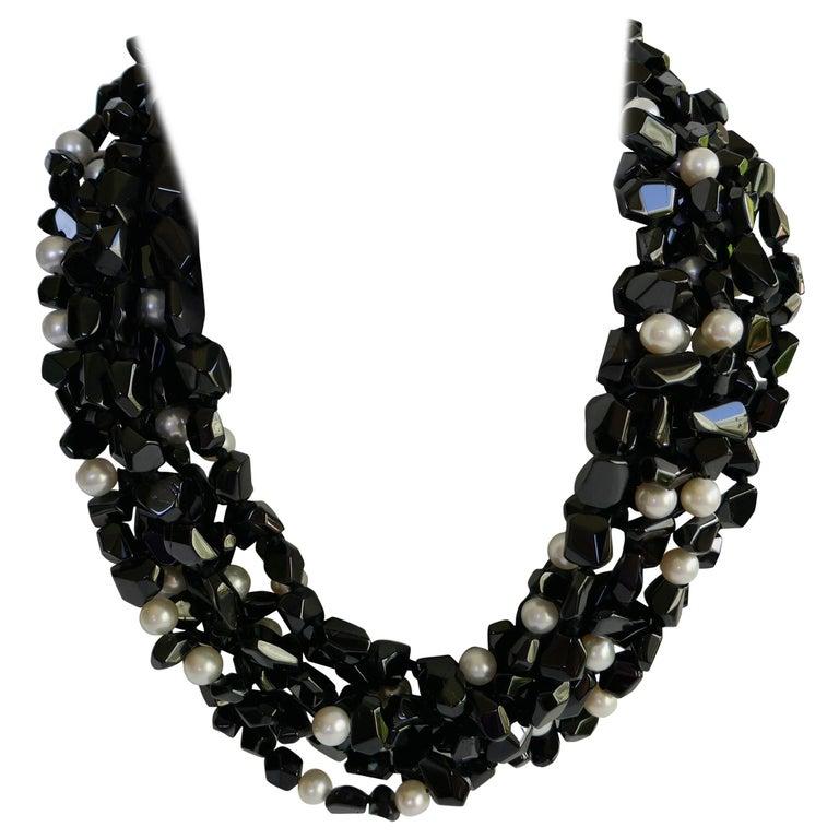 Multi Strand Black Spinel  White Cultured Pearls 925 Sterling Gemstone Necklace For Sale