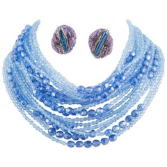 Multi strand blue faceted bead necklace and earrings, Ornella, Italy, 1960s