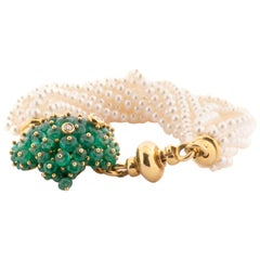Multi-Strand Bracelet with Emerald Clasp