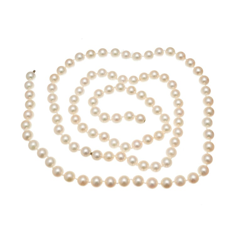 Round Cut Multi-Strand Cultured Pearl Two Strand Necklace Set For Sale
