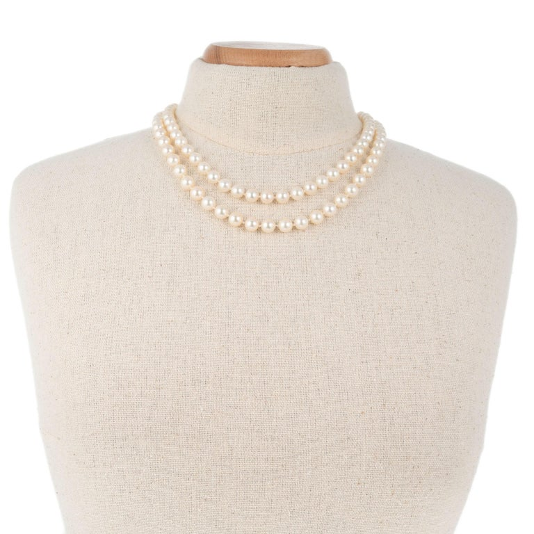Multi-Strand Cultured Pearl Two Strand Necklace Set In Excellent Condition For Sale In Stamford, CT
