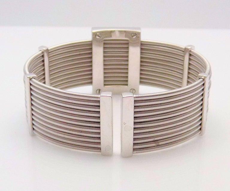 Round Cut Multi Strand Diamond Cuff Bracelet by Verdi in 18 Karat White Gold For Sale
