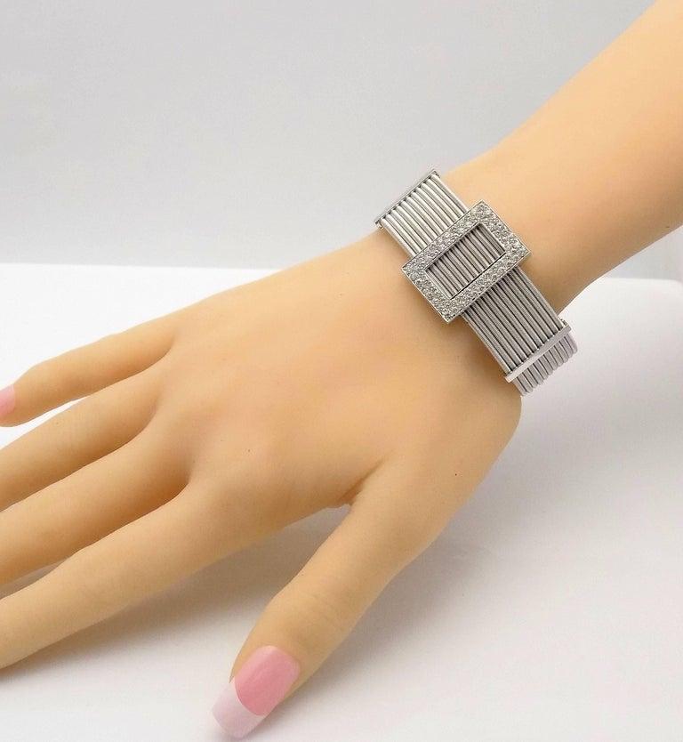 Multi Strand Diamond Cuff Bracelet by Verdi in 18 Karat White Gold In As New Condition For Sale In Dallas, TX