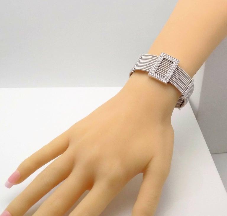 Women's or Men's Multi Strand Diamond Cuff Bracelet by Verdi in 18 Karat White Gold For Sale