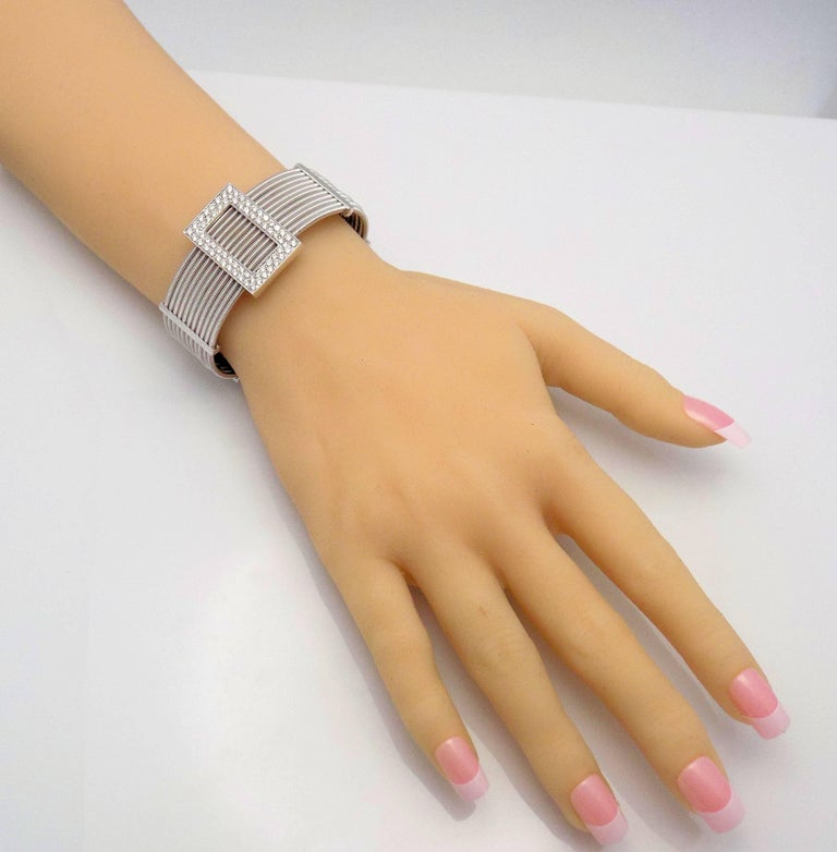 Multi Strand Diamond Cuff Bracelet by Verdi in 18 Karat White Gold For Sale 1