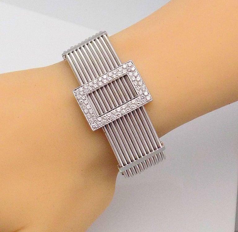 Multi Strand Diamond Cuff Bracelet by Verdi in 18 Karat White Gold For Sale 2