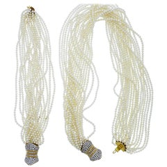 Multi-Strand Fresh Water Pearl Torsade Necklace and Bracelet Set Diamond Clasp