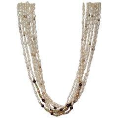 Multi-Strand Freshwater Pearls Gold Beads Semi-Precious Gemstones 7 Strands