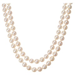 Multi-Strand Japanese Akoya Cultured Pearl 14 Karat Yellow Gold Necklace