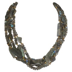 Multi-Strand Labradorite and Gold-Plated Bead Necklace with Silver Clasp