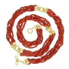 Multi Strand Memmetti Coral Necklace