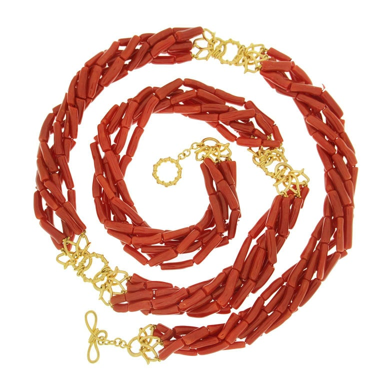 Multi Strand Memmetti Coral Necklace