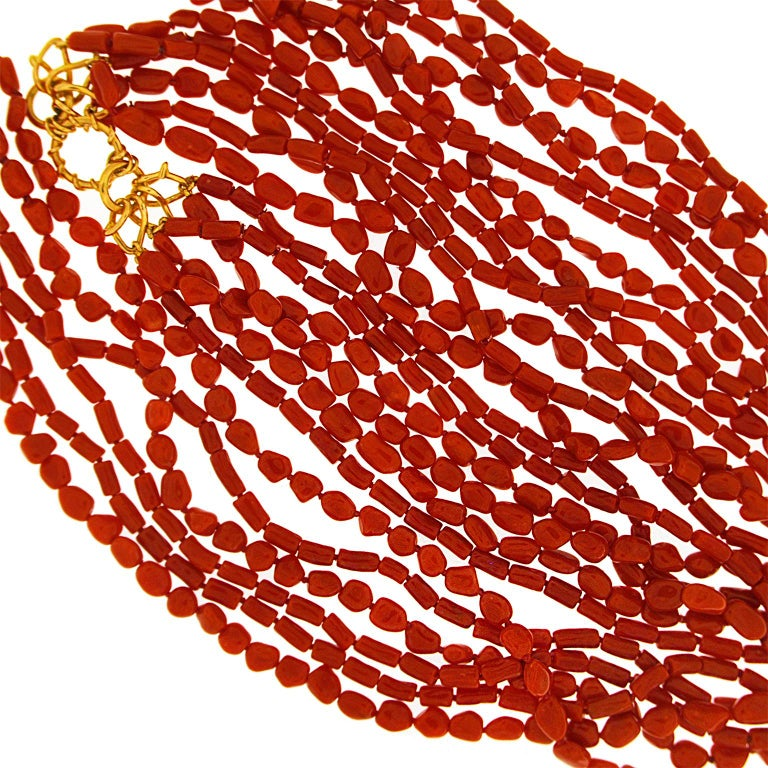 Multi Strand Memmetti Coral Necklace In New Condition For Sale In New York, NY