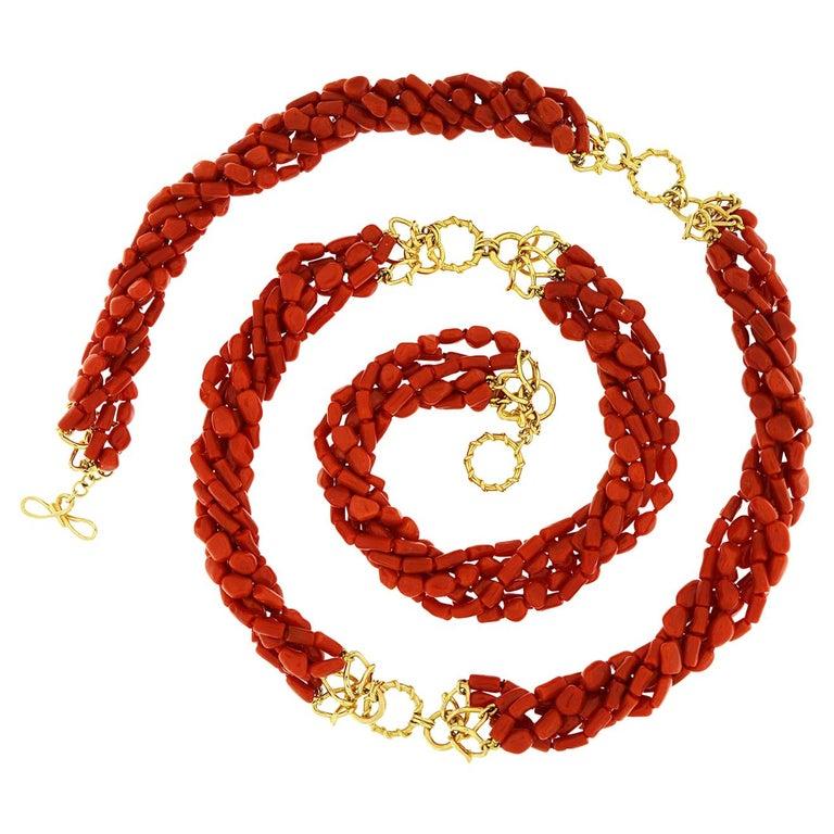 Multi Strand Memmetti Coral Necklace For Sale