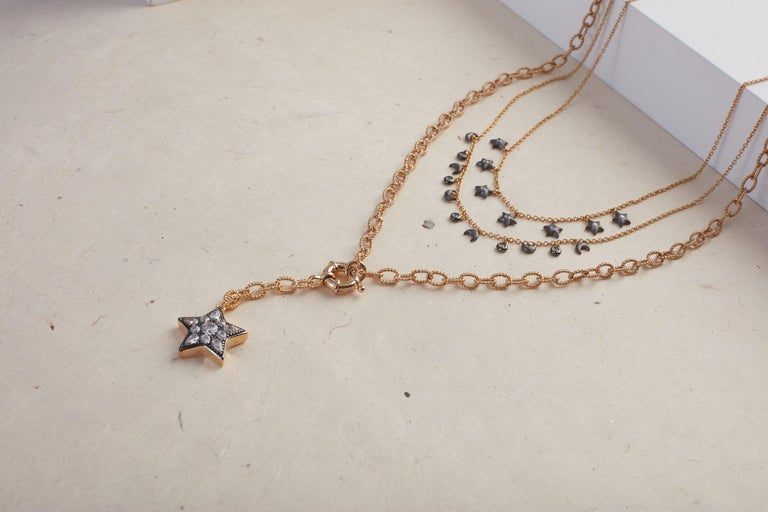 Ammanii Multi-Strand Moon and Stars Charms Vermeil Necklace For Sale 3