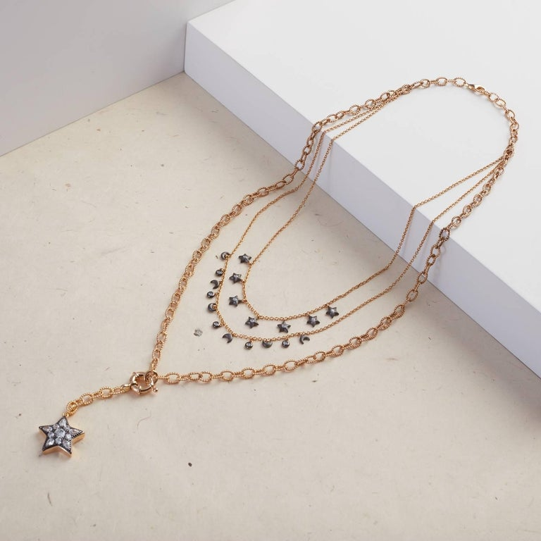 Contemporary Ammanii Multi-Strand Moon and Stars Charms Vermeil Necklace For Sale