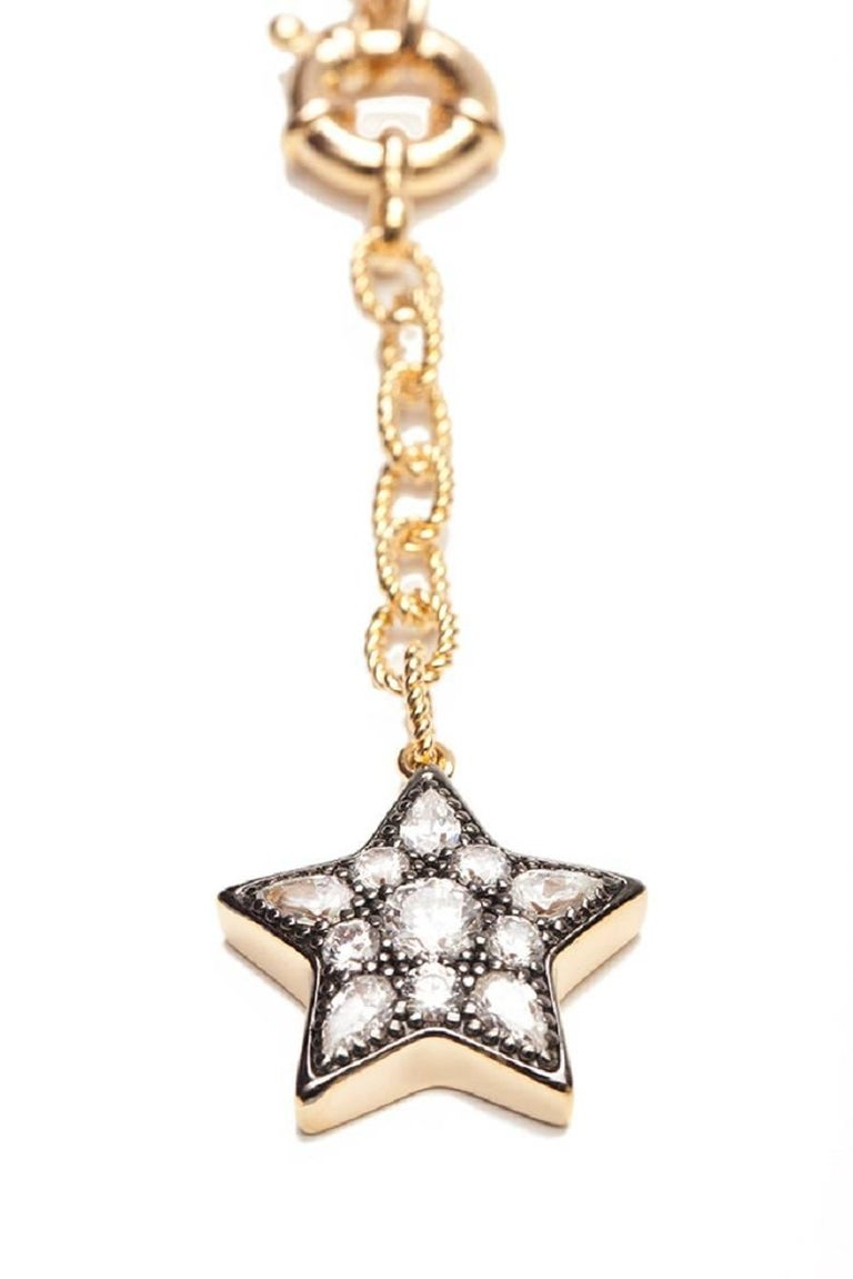 Ammanii Multi-Strand Moon and Stars Charms Vermeil Necklace For Sale 1