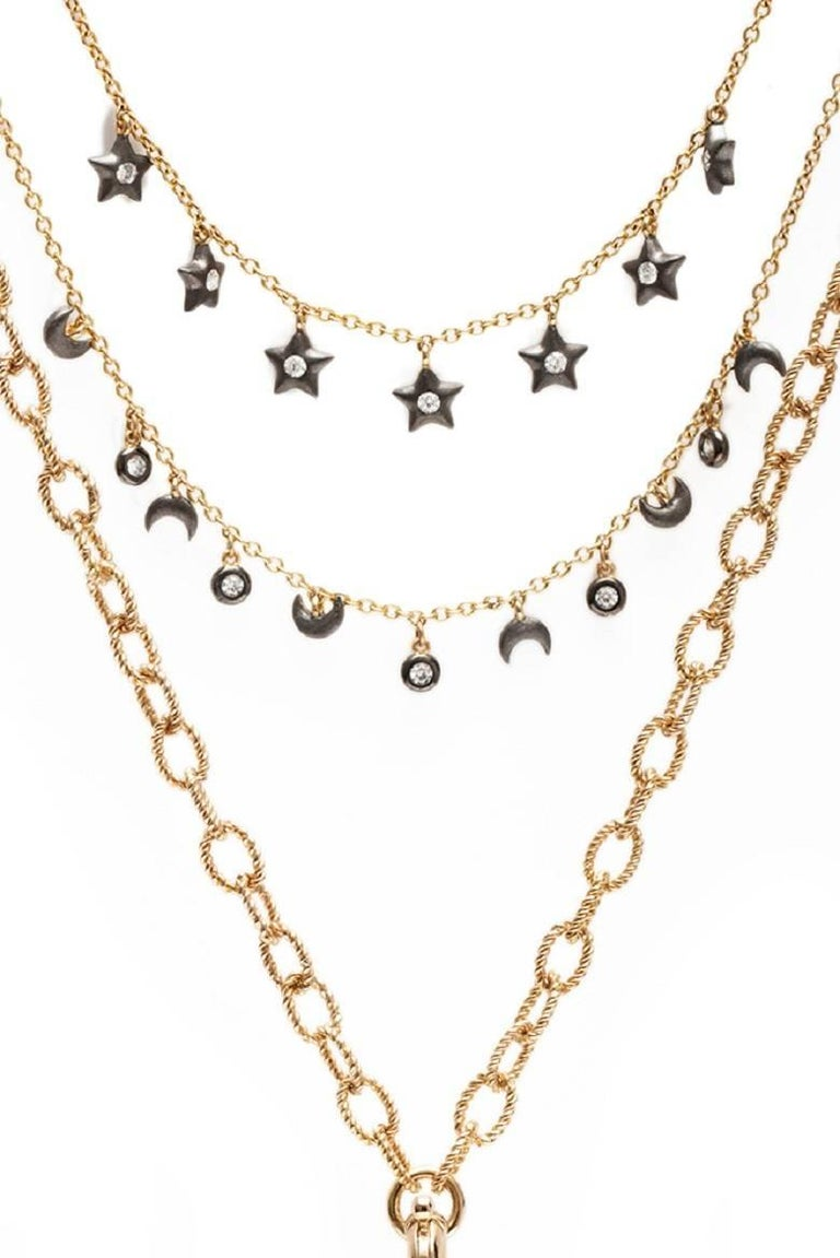 Ammanii Multi-Strand Moon and Stars Charms Vermeil Necklace For Sale 2