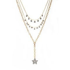 Multi-Strand Moon and Stars Charms Gold Plated Silver Necklace