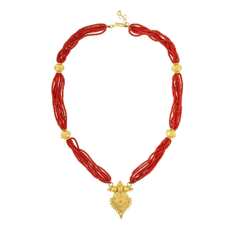 Multi-Strand Natural Coral Beads and Gold Necklace