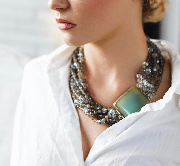 Multi-Strand Natural Labradorite and Chalcedony Statement Necklace in Silver In Excellent Condition For Sale In New York, NY