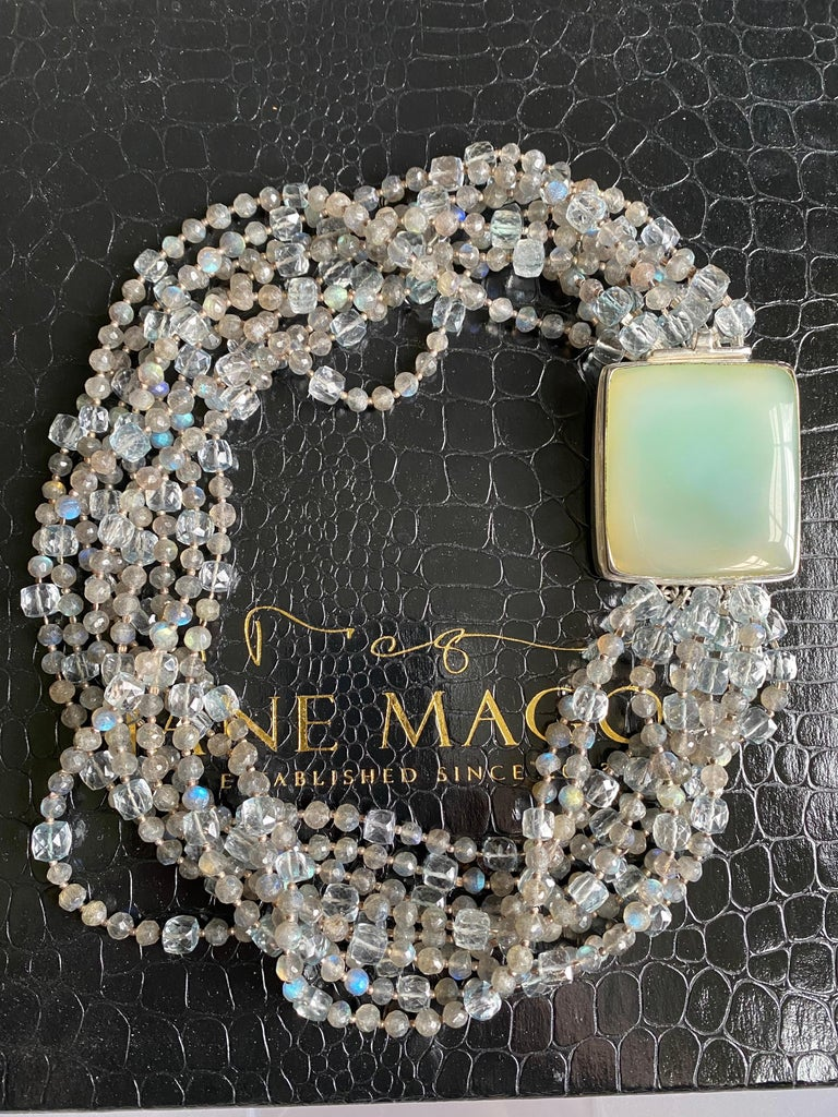 Women's Multi-Strand Natural Labradorite and Chalcedony Statement Necklace in Silver For Sale