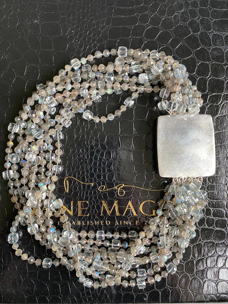Multi-Strand Natural Labradorite and Chalcedony Statement Necklace in Silver For Sale 1