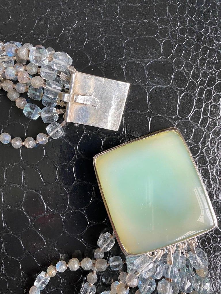 Multi-Strand Natural Labradorite and Chalcedony Statement Necklace in Silver For Sale 2