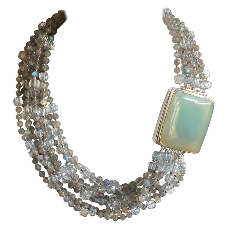 Multi-Strand Natural Labradorite and Chalcedony Statement Necklace in Silver For Sale