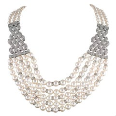 Multi-Strand Pearl and Diamond Necklace from Saks Fifth Avenue